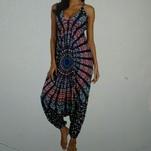 New Boho hippie gypsy harem jumpsuit OS packaged